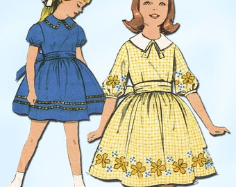 1960s Vintage Advance Sewing Pattern 2961 Sew Easy Little Girls Dress Size 8 26B