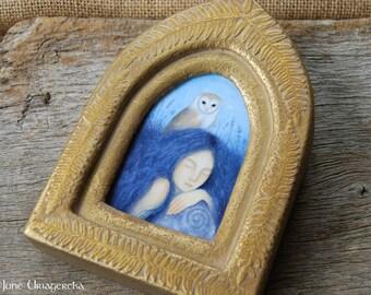 Barn Owl - Original Painting with Handmade Frame
