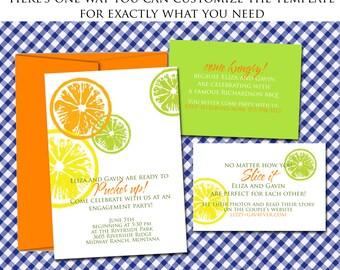 Citrus Wedding Invitation Template / DIY lemon lime orange - NRDIY-3920