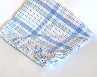Vintage Cotton Tablecloth Cotton Linens for retro 1980's kitchen, Table Linens tablecloths