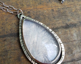 Rose Quartz Sterling Pendant ~ Unique Texture Bohemian Style Bold Statement Pendant