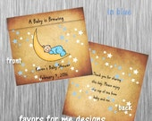 30 Moon and Star Blue Themed Baby Shower Tea Bag Favors