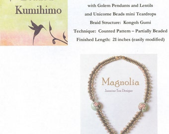 Magnolia, Tutorial for Using Tex 400 Beading Cord with Golem Pendants and Lentil Beads and Unicorne Beads Mini Teardrops
