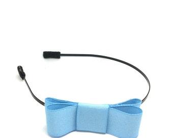 Light Blue Bow Headband - Metal Headband with Bow - Big Girl Headband, Tween Headband, Adult Headband, Side Bow Metal Headband