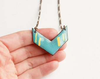 Enamel chevron necklace - copper jewelry handmade, blue chevron jewellery, business casual, bold v necklace, metalsmith jewelry