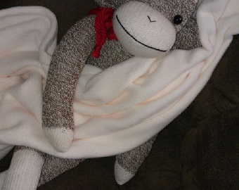 SOCK MONKEY Doll and Large Cuddly BLANKET ~ Color Choices