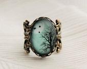 SHOP SALE Turquoise Winter Tree Statement Ring. Birds. Winter Tree. Full Moon. Sky