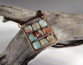 Square Pendant Abacus Pendant Boho plaid pendant Natural blue gemstone pendant.