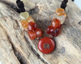 Carnelian Necklace - Spiral necklace - Kinetic  necklace - made in Israel