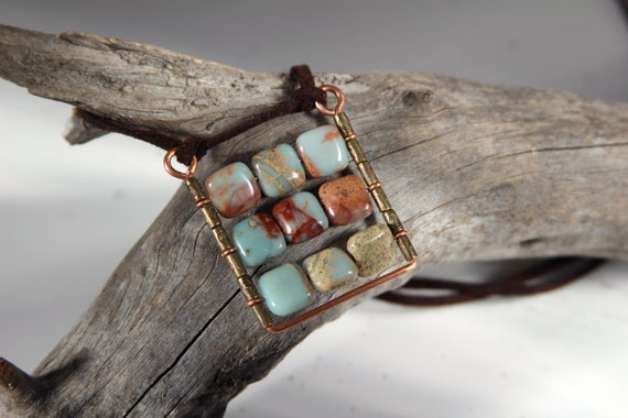 Square Pendant Abacus Pendant Boho plaid pendant Natural blue gemstone pendant.