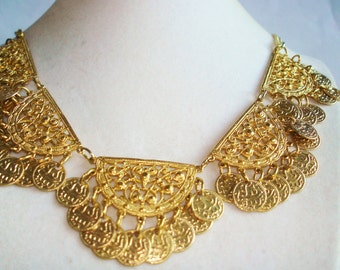 Egyptian Revival  Gold Tone Necklace