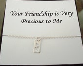 Cut Out Double Heart Tag Sterling Silver Necklace ~~Personalized Jewelry Gift Card for Friend, Best Friend, Sister, Bridal Party