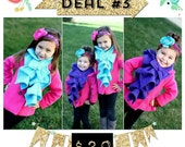 Toddler-Youth - Ruffled Bow Scarf - MADE-TO-ORDER fleece - Many colors to choose from