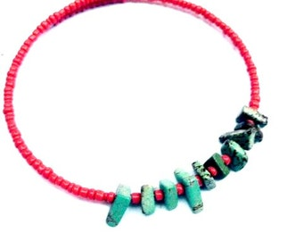 Bracelet - Beaded Wire Bangle - One size fits all - Coral Red and Turquoise Magnesite Chips Simple and Sweet