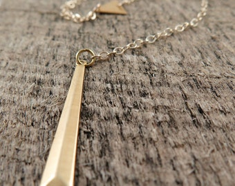 Gold Bar Lariat Necklace, Long Bar Necklace, Triangle Necklace, Geometric Jewelry, Gold Filled