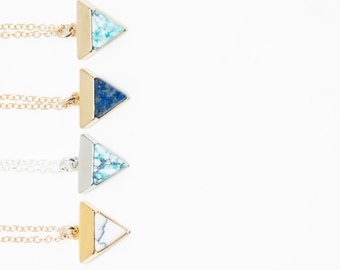 Marbled Stone Triangle Necklaces, Bridesmaid Necklaces, Necklace Small Stone Navy Blue Lapis Stone, Tiny Colorful Triangle Gold, Light Blue