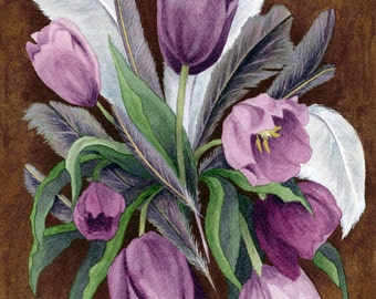 Fine Art Print of Original Watercolor Painting - Feathers & Florals