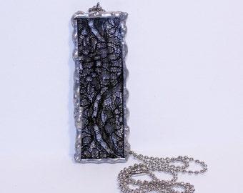 Black Lace Soldered Pendant, Vintage Lace Pendant, Vintage Black Lace Necklace, Black Lace Necklace