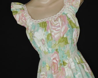 60s pastel roses nightgown vintage floral prairie ruffle summer gown small