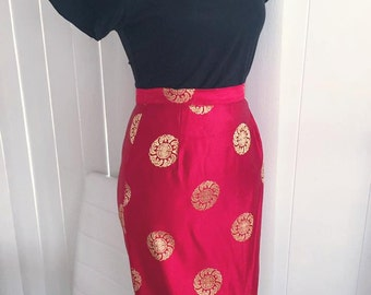 Sassy Vintage Asian Pencil Skirt in Red and Gold -- Size S-M - Rockabilly - Pinup