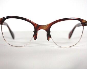 Rare Vintage 1950s Browline Cat Eye // Women's Tortoiseshell Eyeglass Frames // 40s 50s Horn Rimmed Glasses