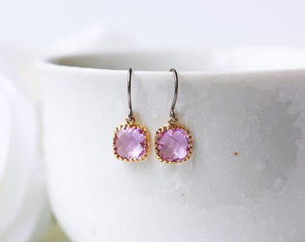 Light Purple Amethyst Glass Titanium Earrings Dainty Gold Square Simple Everyday