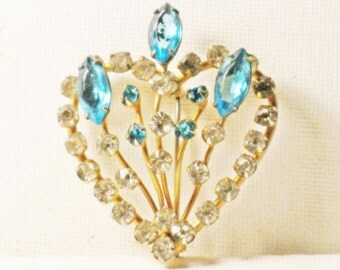 Vintage Blue Rhinestone Heart and Flowers Brooch Pin (B-3-7)