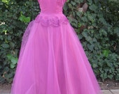 Vintage 1950s Emma Domb Dress L XL 50s Rhinestones Tulle Gown Illusion Party Cocktail Rockabilly Princess Special Occasion