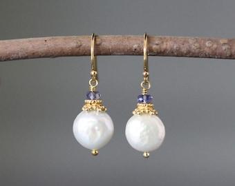 Coin Pearl Earrings - Iolite Earrings - Pearl and Gold Earrings - Wedding Jewelry - Gold Dangle Earrings - Pearl and Gemstone Earrings