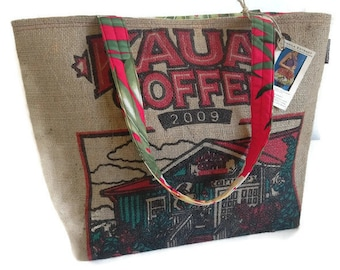 MTO. Custom. Kauai Coffee Gift Shop Burlap Tote. Repurposed Kauai Coffee Company Bag. Handmade in Hawaii.