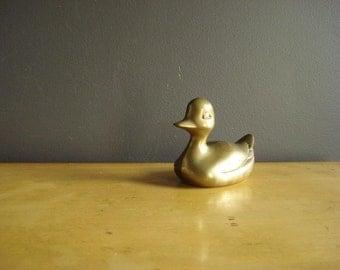 Rubber...err...Brass Ducky - Vintage Brass Duck Figurine