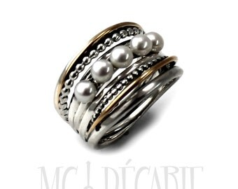 Voluminous ring in silver and gold with 5 pearls on top, silver ring & 10k yellow gold, 5 pearls, gift for her, silver ring, handmade,