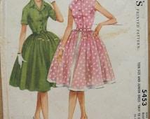 60's Dress Pattern - McCall's 5453 - Size 14T Bust 34 - Vintage 60s Full Skirt Dress Pattern - Teen Size Easy to Sew Full Gathered Skirt