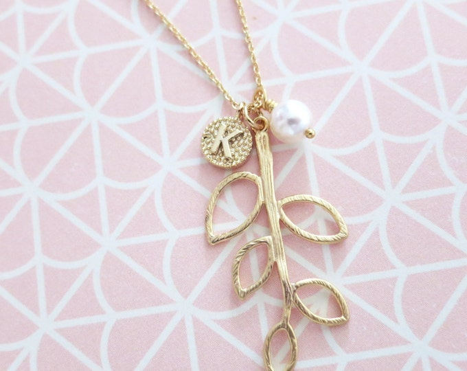 Personalised Initial letter Golden 5 Leaf Tree Branch Necklace / Woodland Garden wedding, Nature, bridesmaid bridal necklace, gifts for her