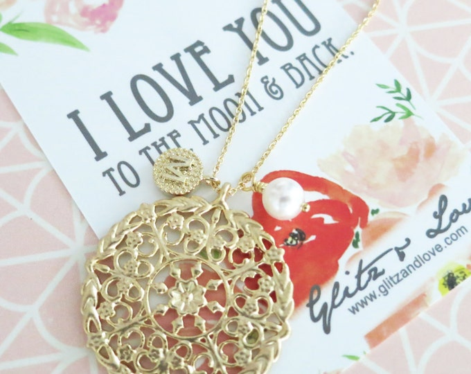 Personalised Initial letter Gold Floral Filigree Pendant Necklace / oriental pattern, Destination holiday wedding bridesmaid bridal necklace