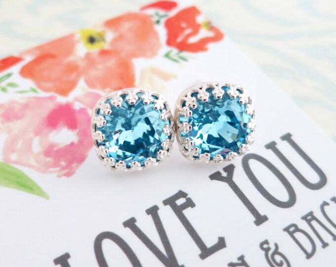Emma - Aquamarine Blue Swarovski Crystal Silver Ear Studs, Wedding Bridesmaid Earrings Jewelry, Swarovski Studs Square Cushion 10mm