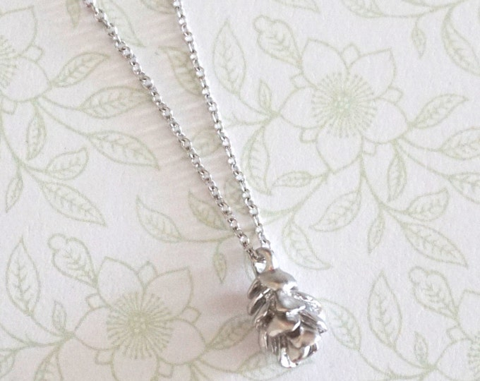Petite Silver Pinecone Necklace / Silver gift nature inspired, garden wedding, bridesmaid bridal shower necklace