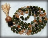 Green Calcite Mala, Sunstone Mala, Quartz Mala, Moonstone Mala, Garnet Mala, Prayer Beads, Japa Mala