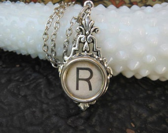 Antique Typewriter Key Jewelry Initial R