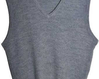 Vintage CHRISTIAN DIOR V Neck Sweater Vest Gray Soft Orlon Mens Small S Medium M