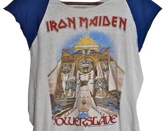 Vintage 80s 1984 IRON MAIDEN Powerslave Heavy Metal Rock Concert Tour T SHIRT