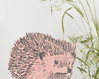 Hedgehog Fabric Sticker Pink