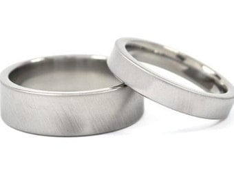 Titanium Rings For Him And Her, Matching Wedding Rings, Titanium Bands: 8F-XB.4F-XB