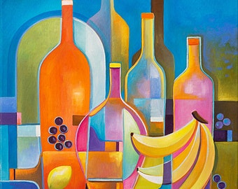 Cubist painting Abstract Art Oil Original artwork Wine Fruits Marlina Vera Fine Art Modern still life Contemporary Fauvism peinture cubiste