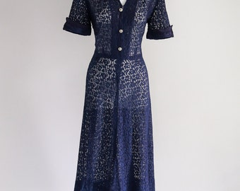 Navy Lace with Rhinestone Buttons- Sz S