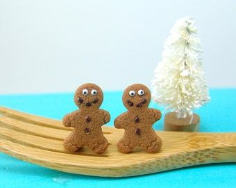 Christmas Earrings // MADE TO ORDER Gingerbread Man Earrings // Stocking Stuffers // Christmas Gifts
