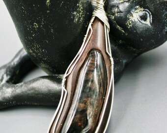 Freeform Gold Sheen Obsidian inlaid in Kingwood Wrapped in Sterling Silver