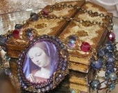 Mary blue veil art print bead embroidery cabochon rosary prayer bead crystal necklace Pamelia Designs Sacred Jewelry