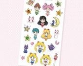 Sailor Moon Aufkleber - Kawaii Chibi Sailor Moon Planer Aufkleber, EG-Aufkleber, persönliche Planer