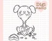 Chocolate Mess Digital Stamp - Dalmatian Dog Digi Stamp - Digital Dog Stamp - Valentine Art - Valentine Card Supply -Dog Craft Supply